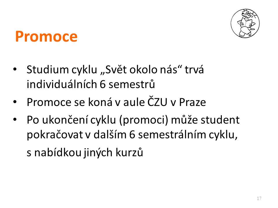 """Promoce Studium cyklu """"Svět okolo nás trvá individuálních 6 semestrů Promoce se koná v aule ČZU v Praze Po ukončení cyklu (promoci) může student pokračovat v dalším 6 semestrálním cyklu, s nabídkou jiných kurzů 17"""