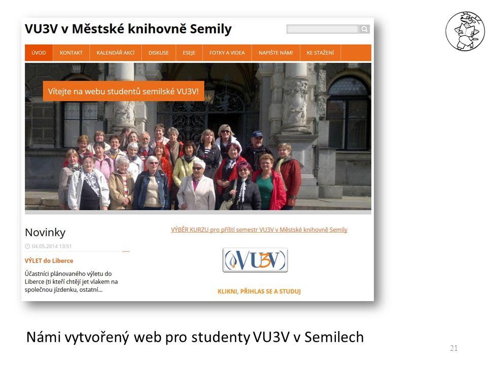 21 Námi vytvořený web pro studenty VU3V v Semilech