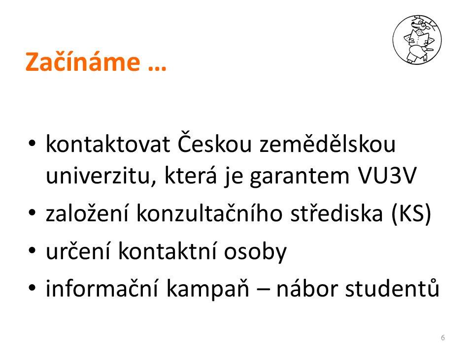 Začínáme … kontaktovat Českou zemědělskou univerzitu, která je garantem VU3V založení konzultačního střediska (KS) určení kontaktní osoby informační kampaň – nábor studentů 6