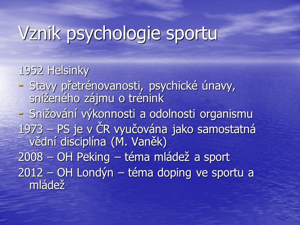 Vznik psychologie sportu 1952 Helsinky - Stavy přetrénovanosti, psychické únavy, sníženého zájmu o trénink - Snižování výkonnosti a odolnosti organismu 1973 – PS je v ČR vyučována jako samostatná vědní disciplína (M.