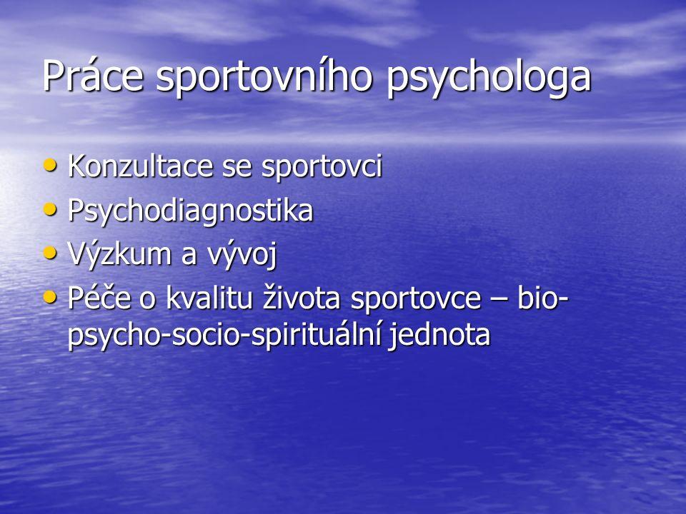 Práce sportovního psychologa Konzultace se sportovci Konzultace se sportovci Psychodiagnostika Psychodiagnostika Výzkum a vývoj Výzkum a vývoj Péče o kvalitu života sportovce – bio- psycho-socio-spirituální jednota Péče o kvalitu života sportovce – bio- psycho-socio-spirituální jednota