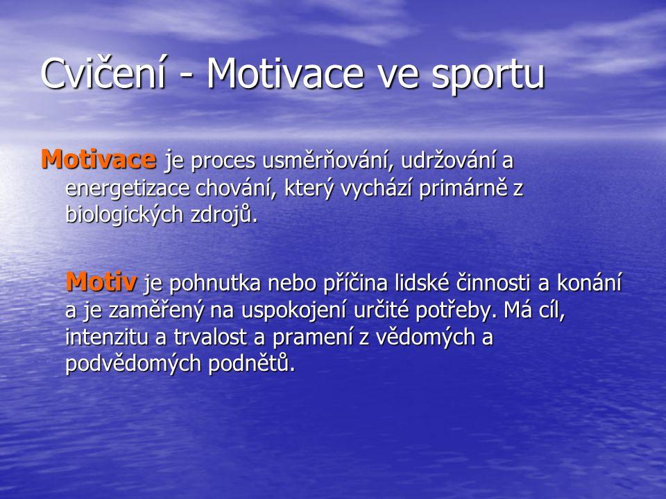 Cvičení - Motivace ve sportu Motivace j e proces usměrňování, udržování a energetizace chování, který vychází primárně z biologických zdrojů.