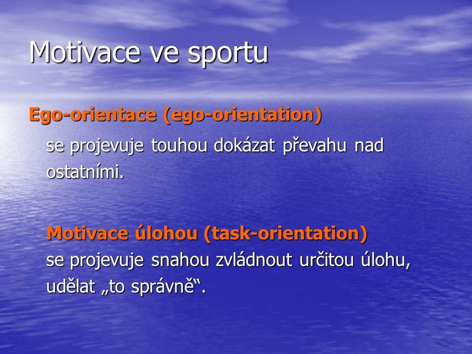 Motivace ve sportu Ego-orientace (ego-orientation) se projevuje touhou dokázat převahu nad ostatními.