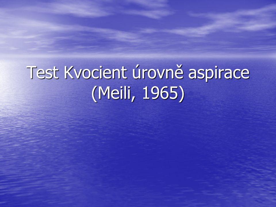Test Kvocient úrovně aspirace (Meili, 1965)