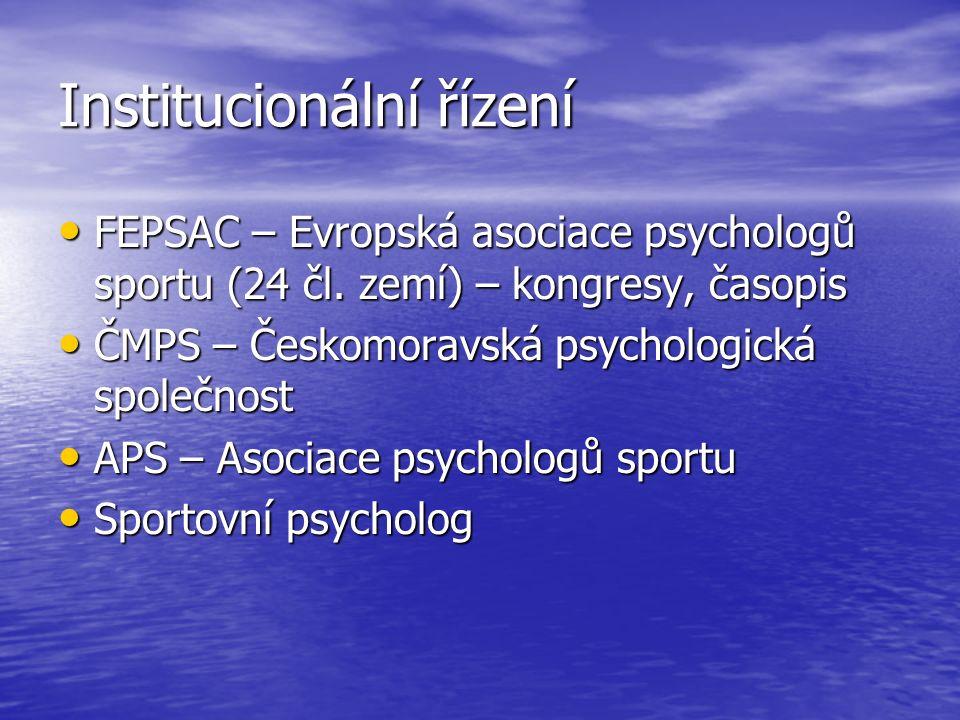 Institucionální řízení FEPSAC – Evropská asociace psychologů sportu (24 čl.