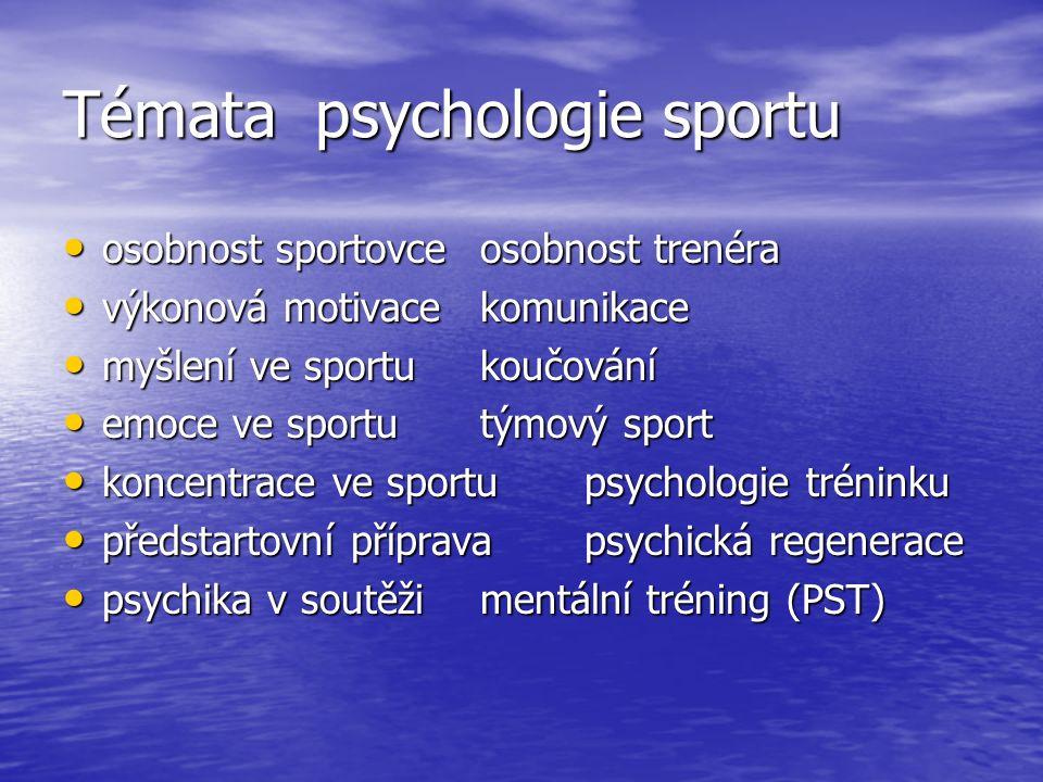 Témata psychologie sportu osobnost sportovceosobnost trenéra osobnost sportovceosobnost trenéra výkonová motivace komunikace výkonová motivace komunikace myšlení ve sportu koučování myšlení ve sportu koučování emoce ve sportu týmový sport emoce ve sportu týmový sport koncentrace ve sportupsychologie tréninku koncentrace ve sportupsychologie tréninku předstartovní příprava psychická regenerace předstartovní příprava psychická regenerace psychika v soutěžimentální tréning (PST) psychika v soutěžimentální tréning (PST)