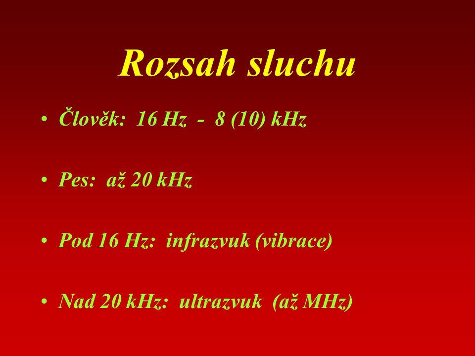 Rozsah sluchu Člověk: 16 Hz - 8 (10) kHz Pes: až 20 kHz Pod 16 Hz: infrazvuk (vibrace) Nad 20 kHz: ultrazvuk (až MHz)