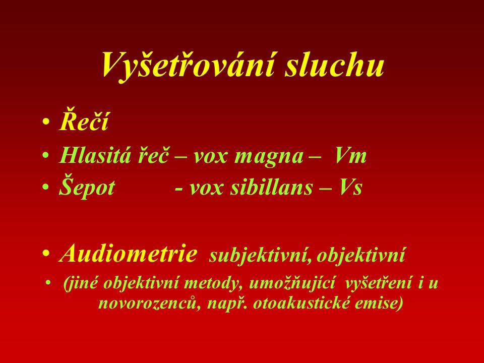 Vyšetřování sluchu Řečí Hlasitá řeč – vox magna – Vm Šepot - vox sibillans – Vs Audiometrie subjektivní, objektivní (jiné objektivní metody, umožňující vyšetření i u novorozenců, např.