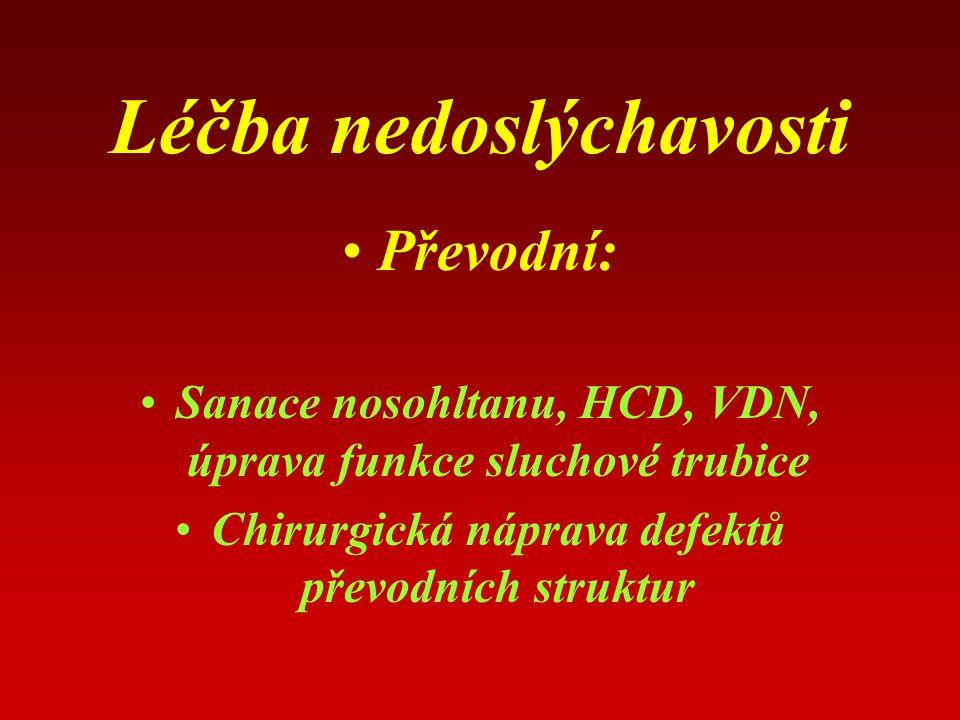 Léčba nedoslýchavosti Převodní: Sanace nosohltanu, HCD, VDN, úprava funkce sluchové trubice Chirurgická náprava defektů převodních struktur