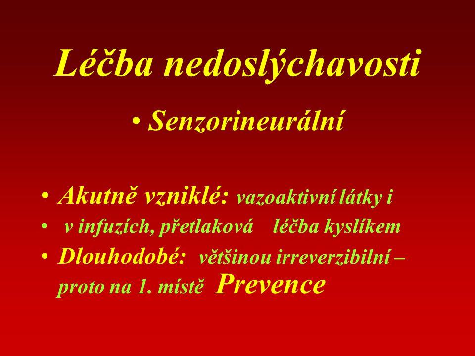 Léčba nedoslýchavosti Senzorineurální Akutně vzniklé: vazoaktivní látky i v infuzích, přetlaková léčba kyslíkem Dlouhodobé: většinou irreverzibilní – proto na 1.