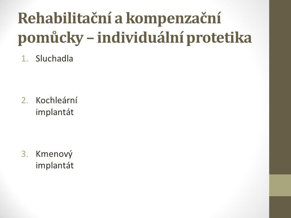 Rehabilitační a kompenzační pomůcky – individuální protetika 1.Sluchadla 2.Kochleární implantát 3.Kmenový implantát