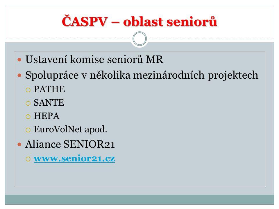 ČASPV – oblast seniorů Ustavení komise seniorů MR Spolupráce v několika mezinárodních projektech  PATHE  SANTE  HEPA  EuroVolNet apod.