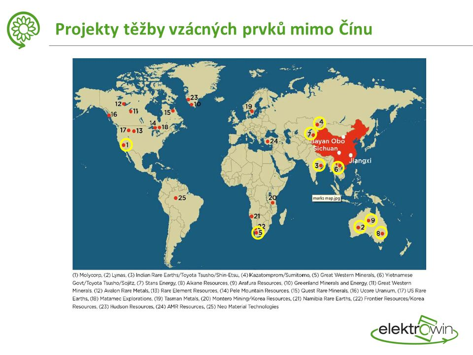 Projekty těžby vzácných prvků mimo Čínu