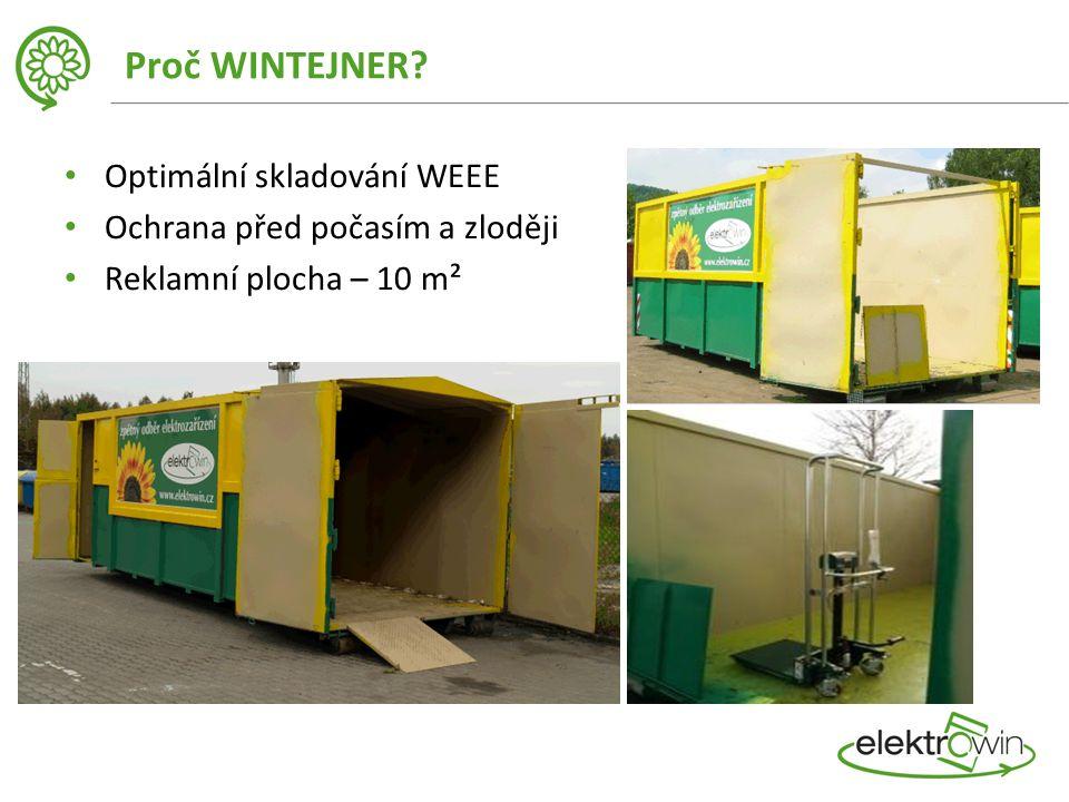 Proč WINTEJNER? Optimální skladování WEEE Ochrana před počasím a zloději Reklamní plocha – 10 m²