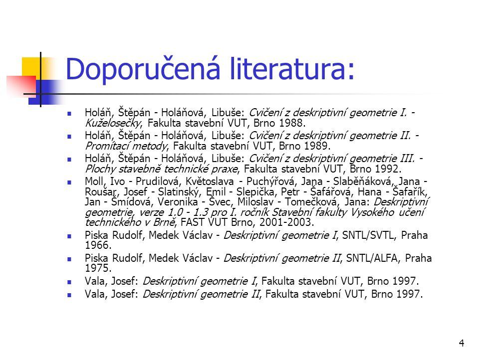 4 Doporučená literatura: Holáň, Štěpán - Holáňová, Libuše: Cvičení z deskriptivní geometrie I. - Kuželosečky, Fakulta stavební VUT, Brno 1988. Holáň,