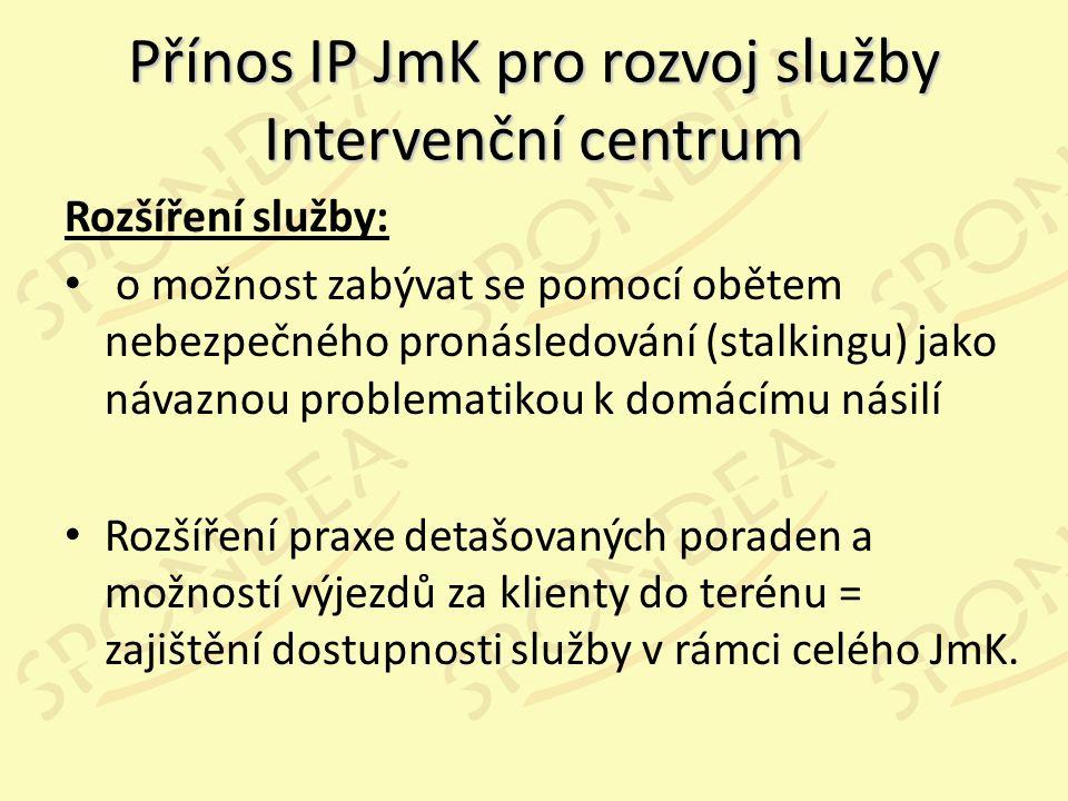 Přínos IP JmK pro rozvoj služby Intervenční centrum Rozšíření služby: o možnost zabývat se pomocí obětem nebezpečného pronásledování (stalkingu) jako návaznou problematikou k domácímu násilí Rozšíření praxe detašovaných poraden a možností výjezdů za klienty do terénu = zajištění dostupnosti služby v rámci celého JmK.
