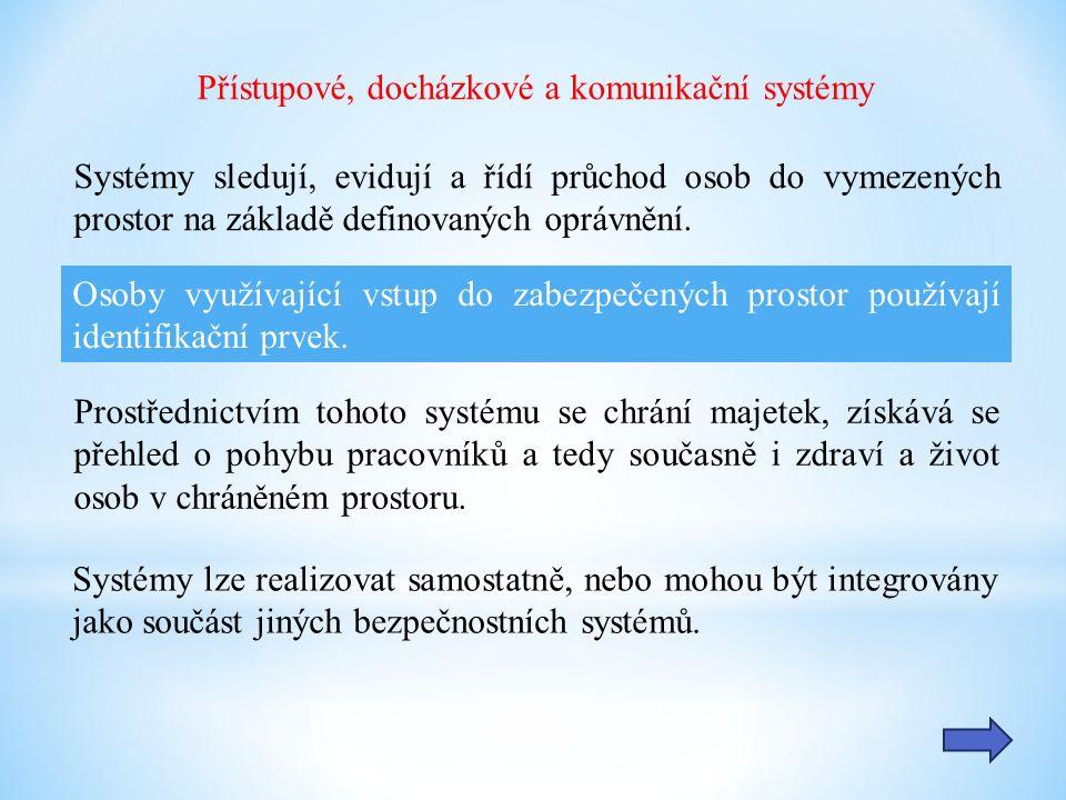 Docházkové systémy: Slouží ke sběru informací o čase a důvodu průchodu místem kontroly.
