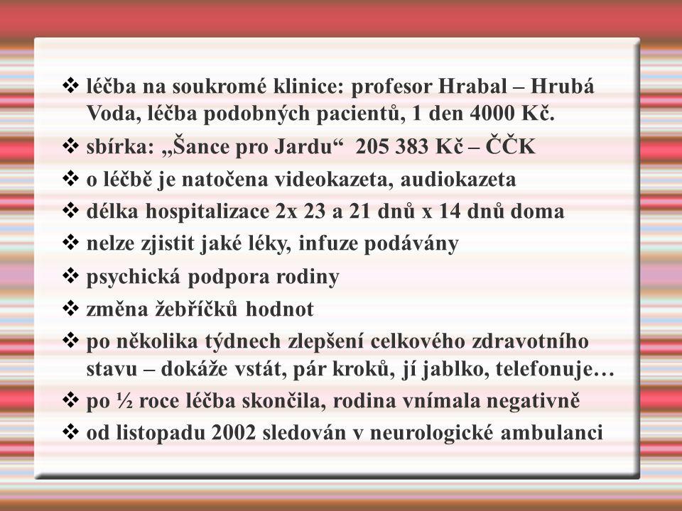  léčba na soukromé klinice: profesor Hrabal – Hrubá Voda, léčba podobných pacientů, 1 den 4000 Kč.