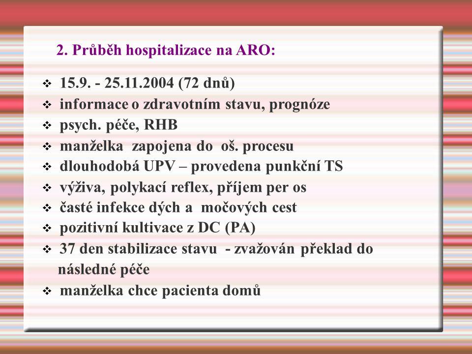 2. Průběh hospitalizace na ARO:  15.9.