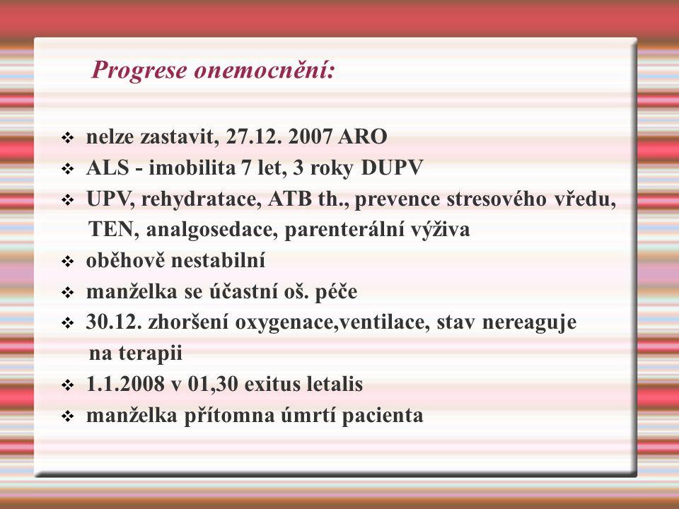 Progrese onemocnění:  nelze zastavit, 27.12.