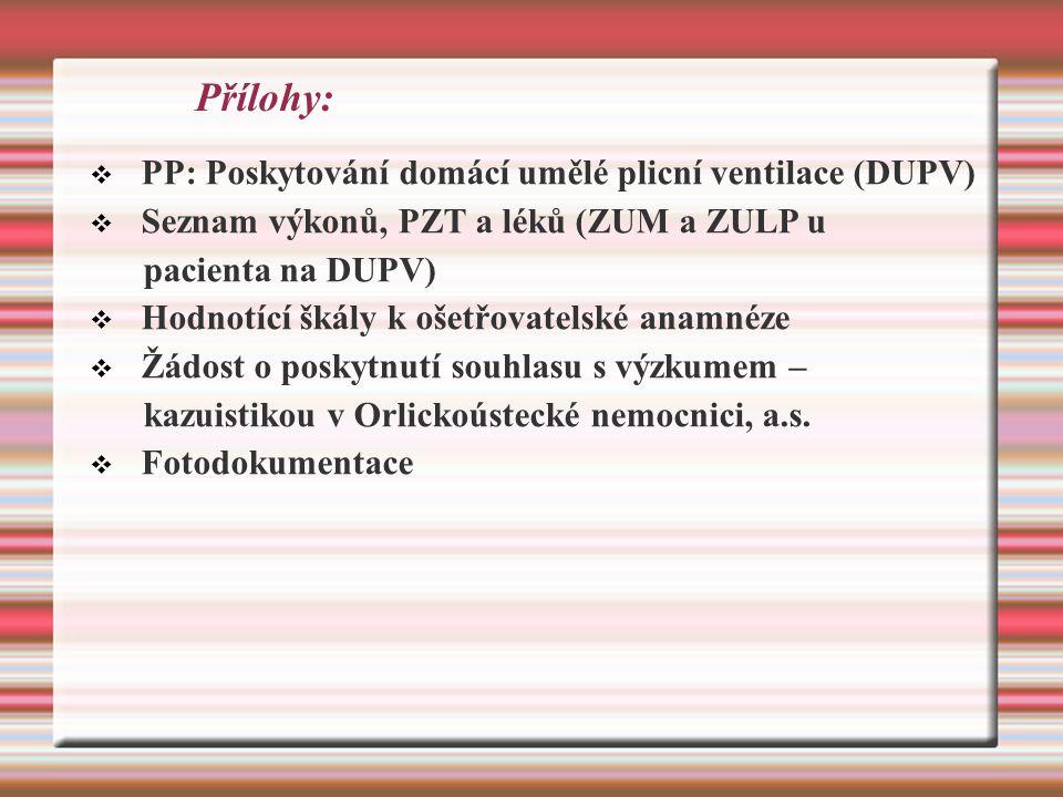 Přílohy:  PP: Poskytování domácí umělé plicní ventilace (DUPV)  Seznam výkonů, PZT a léků (ZUM a ZULP u pacienta na DUPV)  Hodnotící škály k ošetřovatelské anamnéze  Žádost o poskytnutí souhlasu s výzkumem – kazuistikou v Orlickoústecké nemocnici, a.s.