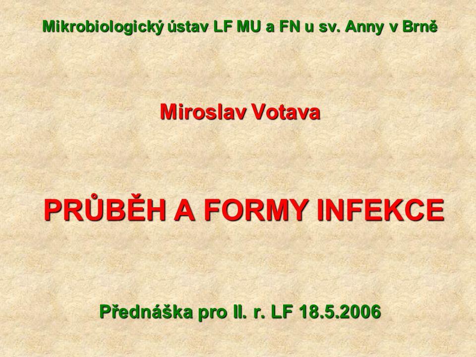 Další druhy infekcí – II Komunitní = infekce získaná v běžné populaci (v terénu) Pyogenní: vyznačuje se přítomností hnisání Specifická: obvykle infekce s typickým patologicko-anatomickým nálezem, tedy syfilis nebo tuberkulóza Exogenní: agens vniká do těla zvenčí Endogenní: agens = příslušník normální mikroflóry (onemocnění není přenosné a nelze u něj stanovit inkubační dobu)