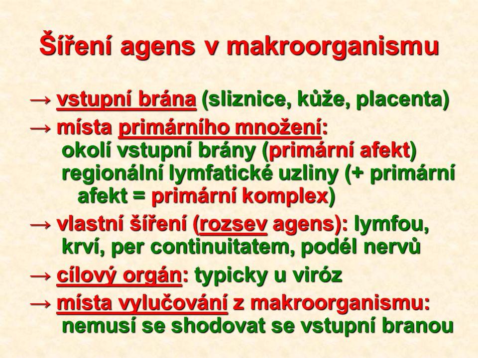 Šíření agens v makroorganismu → vstupní brána (sliznice, kůže, placenta) → místa primárního množení: okolí vstupní brány (primární afekt) regionální lymfatické uzliny (+ primární afekt = primární komplex) → vlastní šíření (rozsev agens): lymfou, krví, per continuitatem, podél nervů → cílový orgán: typicky u viróz → místa vylučování z makroorganismu: nemusí se shodovat se vstupní branou