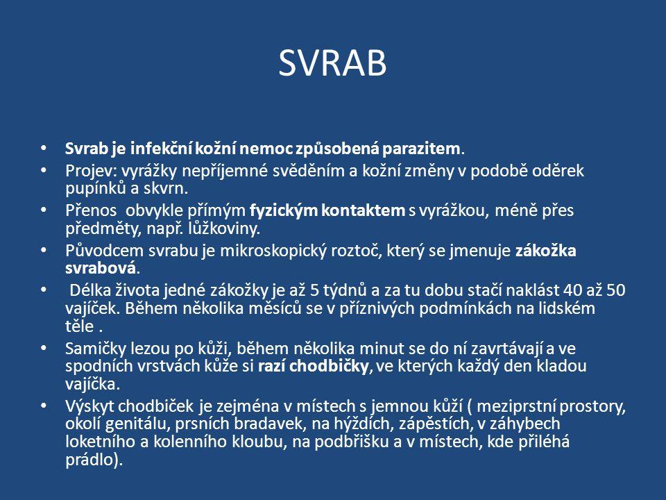 SVRAB Svrab je infekční kožní nemoc způsobená parazitem.