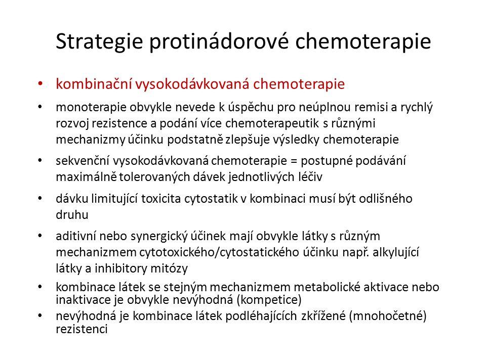 Strategie protinádorové chemoterapie kombinační vysokodávkovaná chemoterapie monoterapie obvykle nevede k úspěchu pro neúplnou remisi a rychlý rozvoj rezistence a podání více chemoterapeutik s různými mechanizmy účinku podstatně zlepšuje výsledky chemoterapie sekvenční vysokodávkovaná chemoterapie = postupné podávání maximálně tolerovaných dávek jednotlivých léčiv dávku limitující toxicita cytostatik v kombinaci musí být odlišného druhu aditivní nebo synergický účinek mají obvykle látky s různým mechanizmem cytotoxického/cytostatického účinku např.