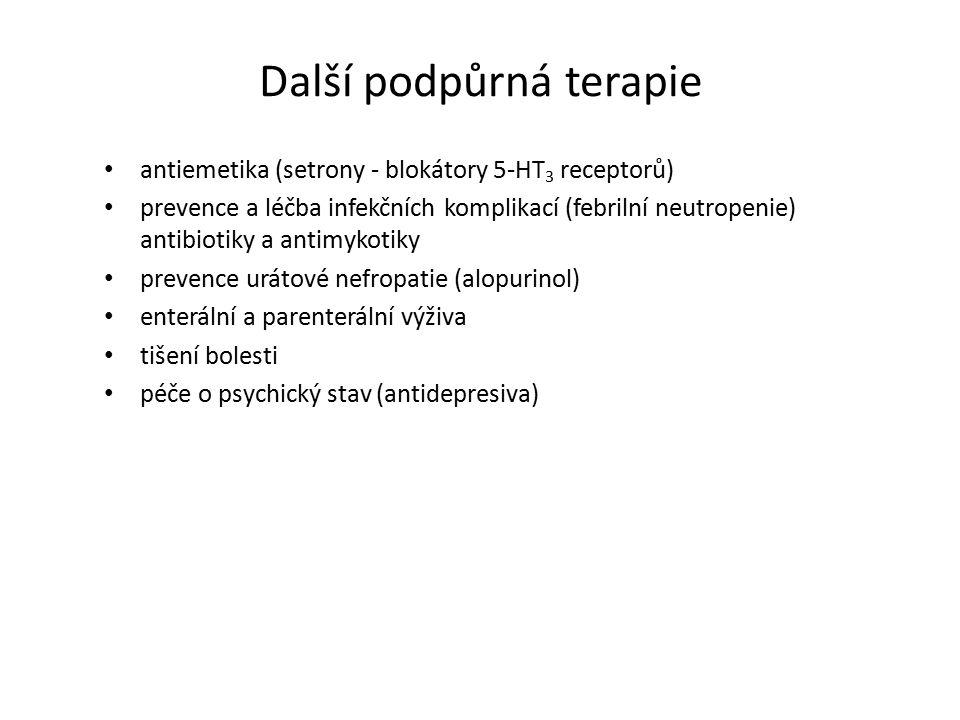 Další podpůrná terapie antiemetika (setrony - blokátory 5-HT 3 receptorů) prevence a léčba infekčních komplikací (febrilní neutropenie) antibiotiky a antimykotiky prevence urátové nefropatie (alopurinol) enterální a parenterální výživa tišení bolesti péče o psychický stav (antidepresiva)