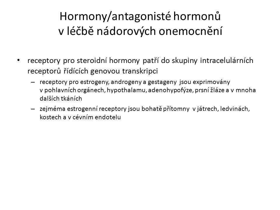 Hormony/antagonisté hormonů v léčbě nádorových onemocnění receptory pro steroidní hormony patří do skupiny intracelulárních receptorů řídících genovou transkripci – receptory pro estrogeny, androgeny a gestageny jsou exprimovány v pohlavních orgánech, hypothalamu, adenohypofýze, prsní žláze a v mnoha dalších tkáních – zejméma estrogenní receptory jsou bohatě přítomny v játrech, ledvinách, kostech a v cévním endotelu