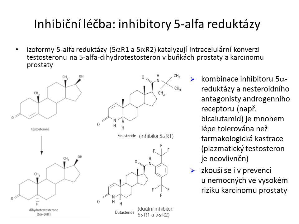 Inhibiční léčba: inhibitory 5-alfa reduktázy izoformy 5-alfa reduktázy (5  R1 a 5  R2) katalyzují intracelulární konverzi testosteronu na 5-alfa-dihydrotestosteron v buňkách prostaty a karcinomu prostaty (inhibitor 5  R1) (duální inhibitor: 5  R1 a 5  R2)  kombinace inhibitoru 5  - reduktázy a nesteroidního antagonisty androgenního receptoru (např.