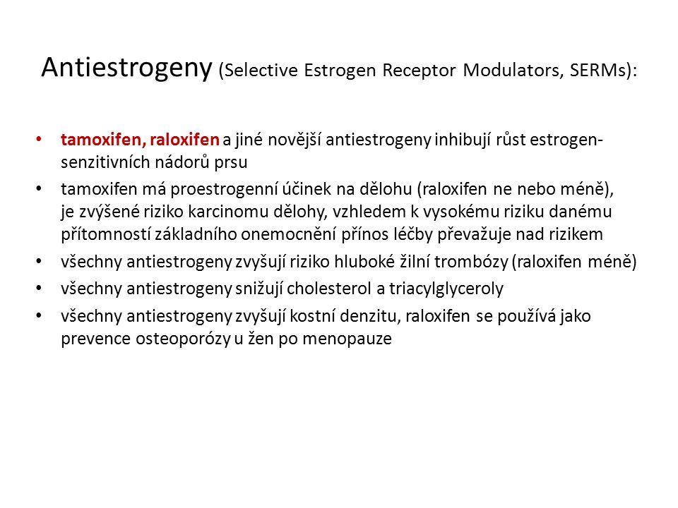 Antiestrogeny (Selective Estrogen Receptor Modulators, SERMs): tamoxifen, raloxifen a jiné novější antiestrogeny inhibují růst estrogen- senzitivních nádorů prsu tamoxifen má proestrogenní účinek na dělohu (raloxifen ne nebo méně), je zvýšené riziko karcinomu dělohy, vzhledem k vysokému riziku danému přítomností základního onemocnění přínos léčby převažuje nad rizikem všechny antiestrogeny zvyšují riziko hluboké žilní trombózy (raloxifen méně) všechny antiestrogeny snižují cholesterol a triacylglyceroly všechny antiestrogeny zvyšují kostní denzitu, raloxifen se používá jako prevence osteoporózy u žen po menopauze