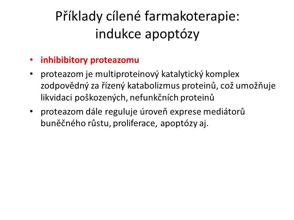 Příklady cílené farmakoterapie: indukce apoptózy inhibibitory proteazomu proteazom je multiproteinový katalytický komplex zodpovědný za řízený katabolizmus proteinů, což umožňuje likvidaci poškozených, nefunkčních proteinů proteazom dále reguluje úroveň exprese mediátorů buněčného růstu, proliferace, apoptózy aj.