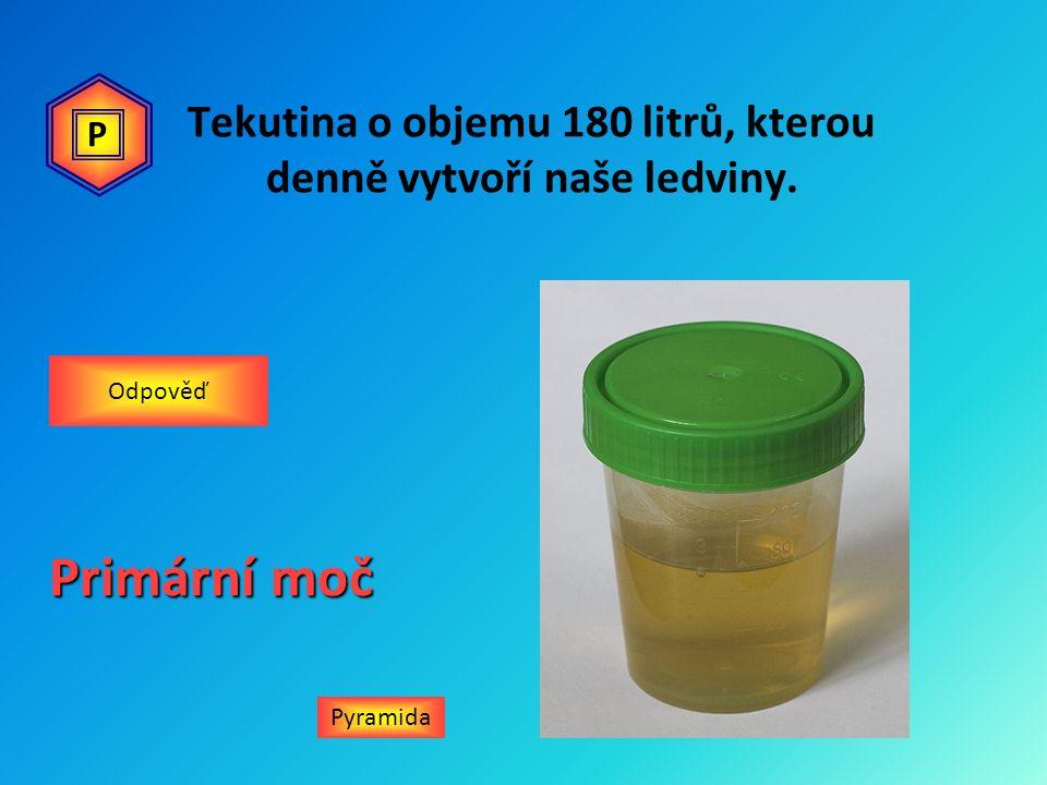 Tekutina o objemu 180 litrů, kterou denně vytvoří naše ledviny. Pyramida Odpověď Primární moč P