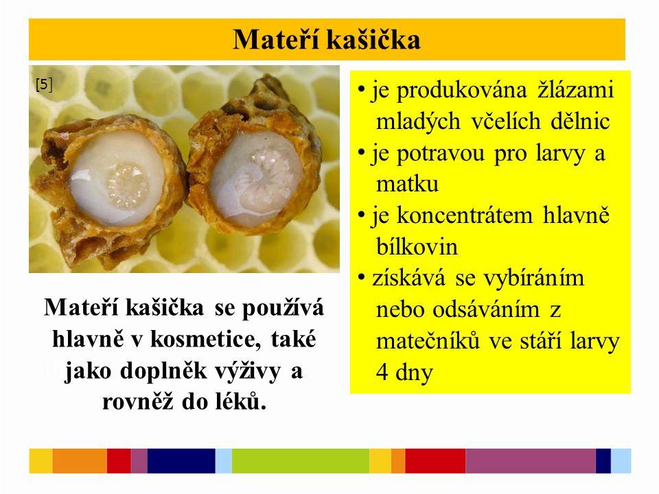 [1 ] [2 ] Mateří kašička je produkována žlázami mladých včelích dělnic je potravou pro larvy a matku je koncentrátem hlavně bílkovin získává se vybíráním nebo odsáváním z matečníků ve stáří larvy 4 dny [5 ] Mateří kašička se používá hlavně v kosmetice, také jako doplněk výživy a rovněž do léků.