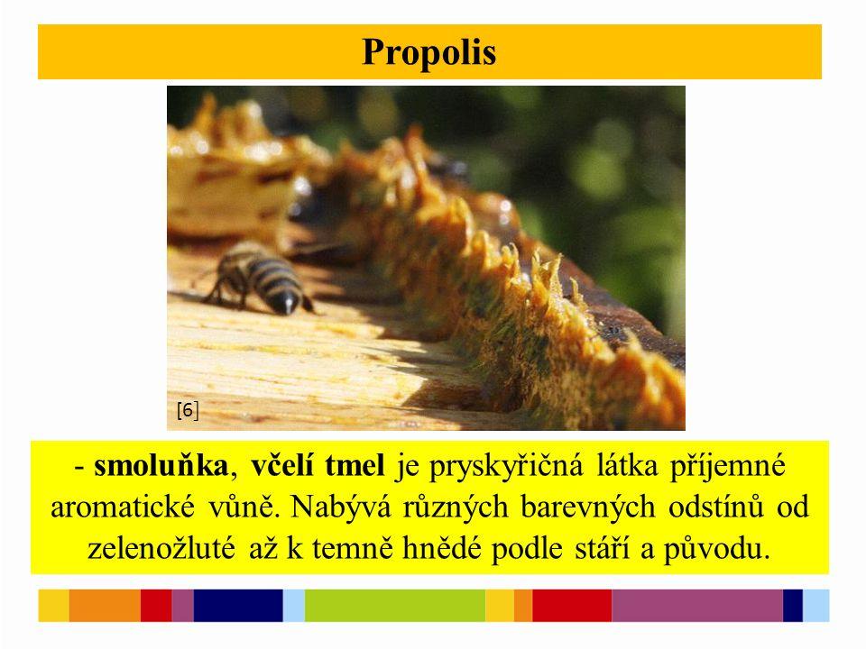 [1 ] [2 ] Propolis - smoluňka, včelí tmel je pryskyřičná látka příjemné aromatické vůně. Nabývá různých barevných odstínů od zelenožluté až k temně hn