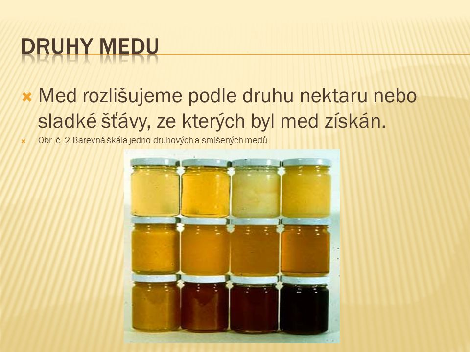 Lipový med – nejkvalitnější, snadno krystalizuje; má světlou nažloutlou barvu, chuť a vůně po lipovém květu.