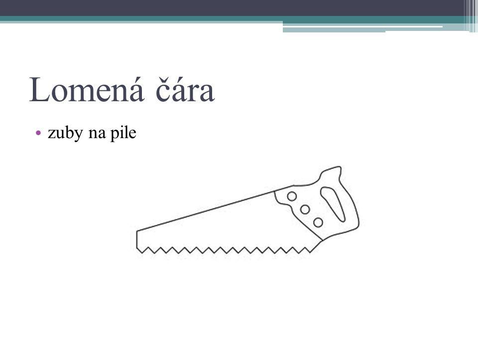 Lomená čára zuby na pile