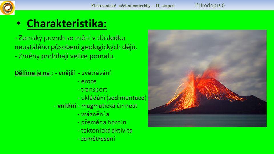 Charakteristika: Elektronické učební materiály – II. stupeň Přírodopis 6 - Zemský povrch se mění v důsledku neustálého působení geologických dějů. - Z