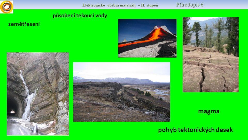 Elektronické učební materiály – II. stupeň Přírodopis 6 magma působení tekoucí vody pohyb tektonických desek zemětřesení