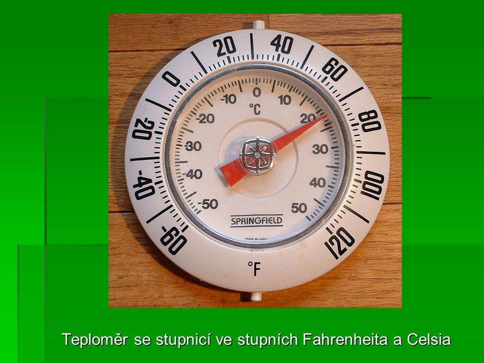 Teploměr se stupnicí ve stupních Fahrenheita a Celsia
