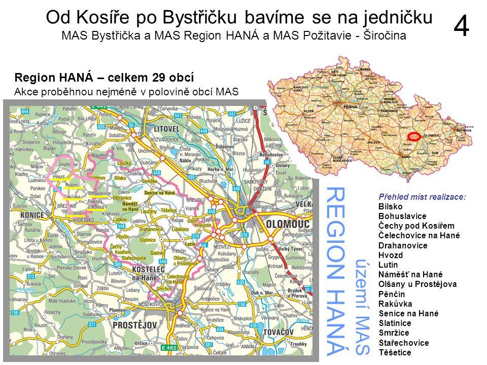 území MAS REGION HANÁ Region HANÁ – celkem 29 obcí Akce proběhnou nejméně v polovině obcí MAS 4 Přehled míst realizace: Bílsko Bohuslavice Čechy pod K