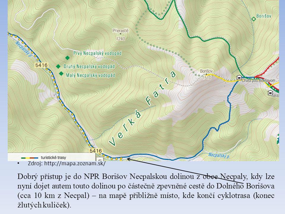 Zdroj: http://mapa.zoznam.sk/ Dobrý přístup je do NPR Borišov Necpalskou dolinou z obce Necpaly, kdy lze nyní dojet autem touto dolinou po částečně zpevněné cestě do Dolného Borišova (cca 10 km z Necpal) – na mapě přibližně místo, kde končí cyklotrasa (konec žlutých kuliček).
