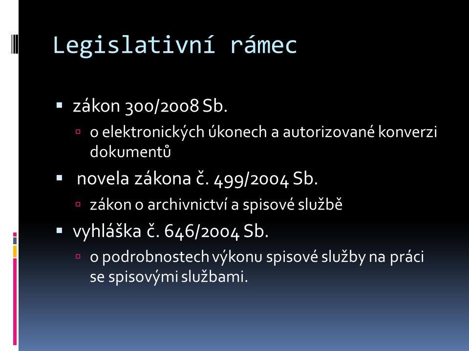 Legislativní rámec  zákon 300/2008 Sb.