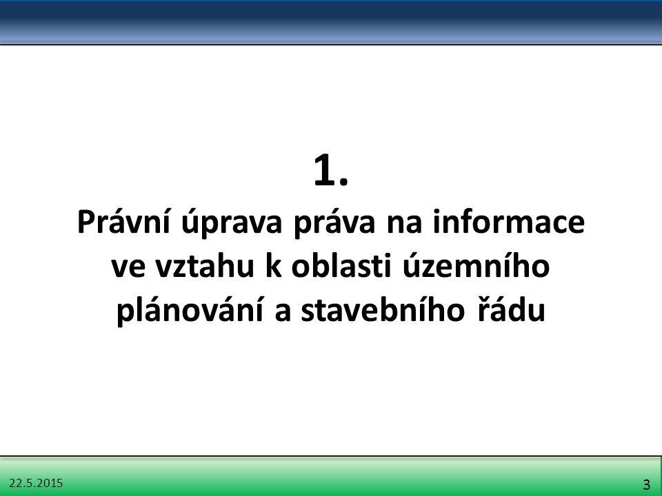 22.5.2015 14 Informace, jejichž poskytování upravuje zvláštní zákon Nutné rozlišovat: 1.Předpisy, které upravují komplexně přístup k určité informaci 2.Předpisy, které upravují jen určitý aspekt práva na informace – uplatní se pravidlo subsidiarity InfZ – procesní: některé předpisy upravují zvláštní způsob přístupu k informacím (např.