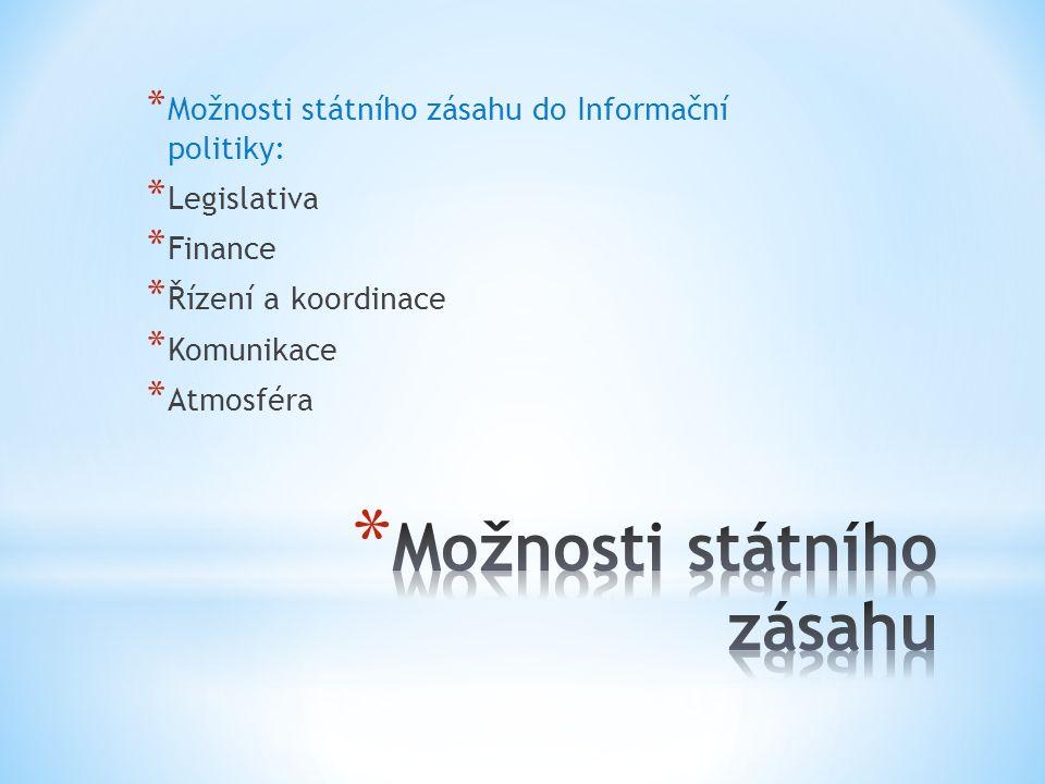* Možnosti státního zásahu do Informační politiky: * Legislativa * Finance * Řízení a koordinace * Komunikace * Atmosféra
