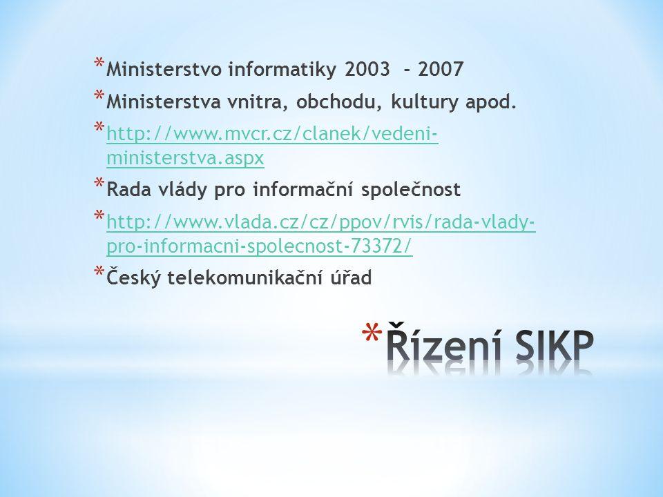 * Ministerstvo informatiky 2003 - 2007 * Ministerstva vnitra, obchodu, kultury apod. * http://www.mvcr.cz/clanek/vedeni- ministerstva.aspx http://www.