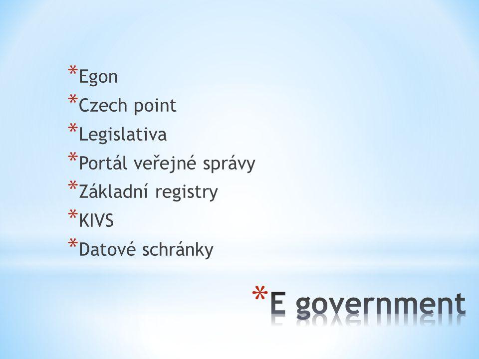 * Egon * Czech point * Legislativa * Portál veřejné správy * Základní registry * KIVS * Datové schránky