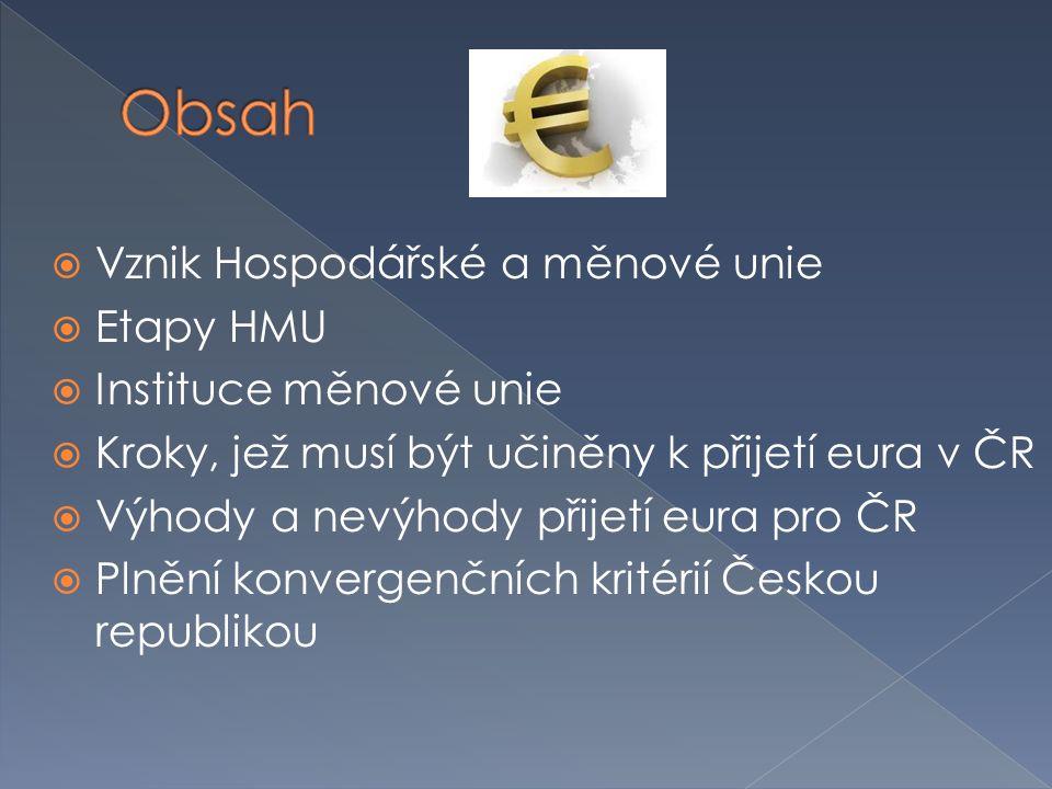  Vznik Hospodářské a měnové unie  Etapy HMU  Instituce měnové unie  Kroky, jež musí být učiněny k přijetí eura v ČR  Výhody a nevýhody přijetí eura pro ČR  Plnění konvergenčních kritérií Českou republikou